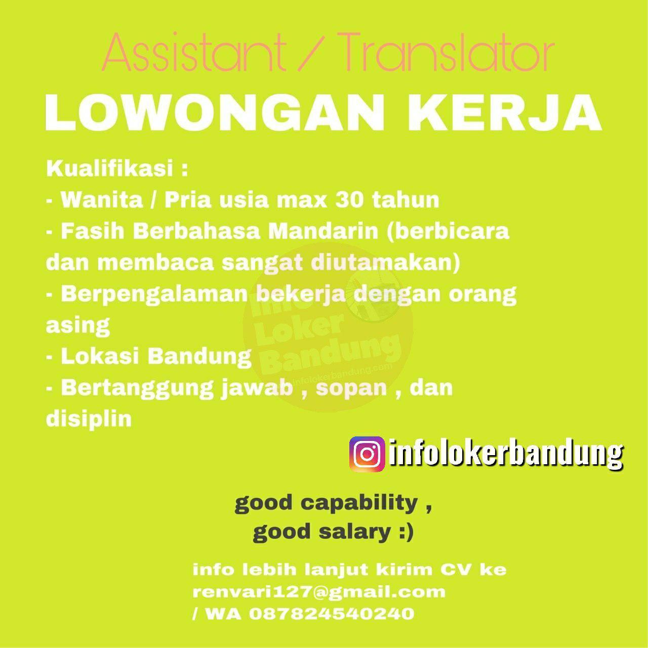 Lowongan Kerja Asistant / Translator Bandung September 2019