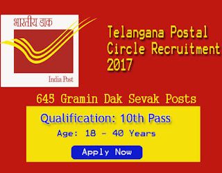 District Wise Telangana Postal Vacancies 2017