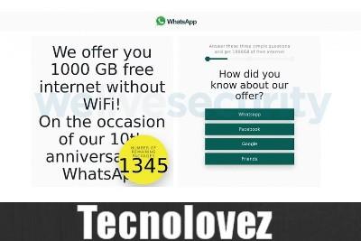 WhatsApp 1000GB di Internet gratis - Attenti alla nuova truffa