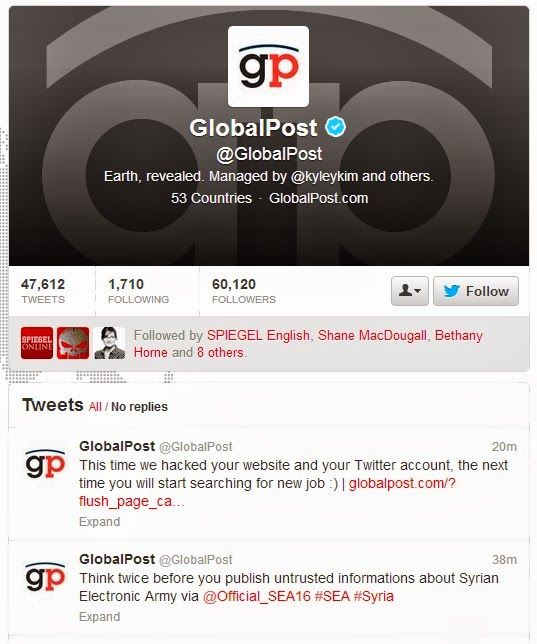US news agency GlobalPost's twitter and website hacked by Syrian Electronic Army