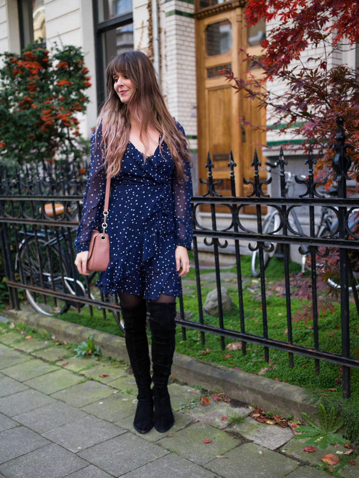 star print wrap dress, thigh high boots