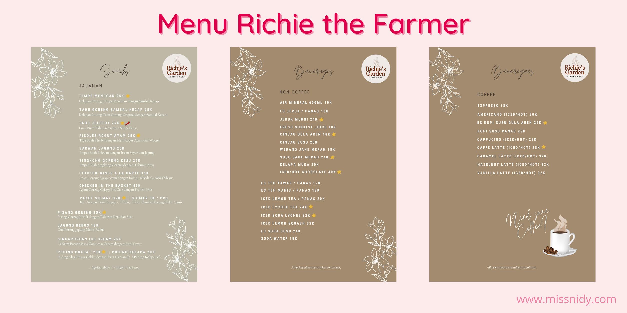 richie the farmer menu