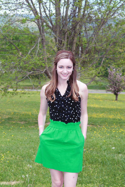 polka dot top, J. Crew mini skirt, thredUP