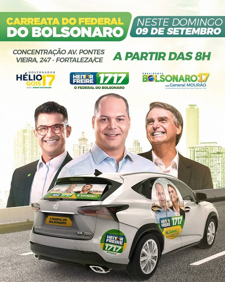 PSL promove carreata para Bolsonaro neste domingo em Fortaleza 232ae87022b34