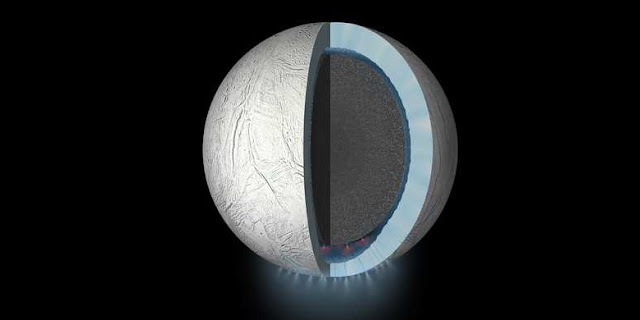 Using new geochemical models, SwRI scientists found that CO2 in Enceladus' ocean may be controlled by chemical reactions at the seafloor. Integrating this finding with previous discoveries of H2 and silica suggests geochemically diverse environments in the rocky core. This diversity has the potential to create energy sources that could support life. Credit: NASA/JPL-Caltech