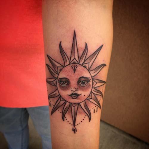 güneş surat dövmesi sun face tattoo