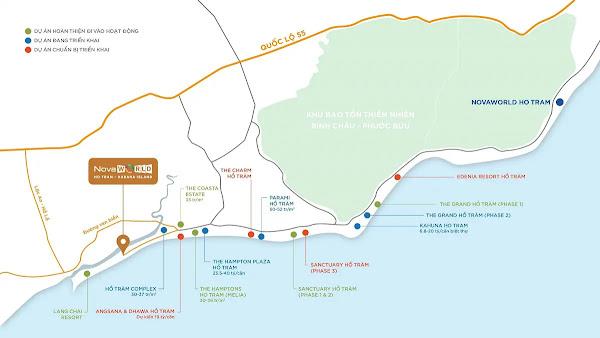 vị trí dự án Habana Island Hồ Tràm trên bản đồ