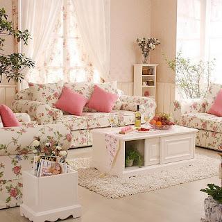 Desain Ruang Keluarga Warna Pink Romantis