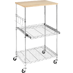 Whitmor Supreme Microwave Cart Wood & Chrome