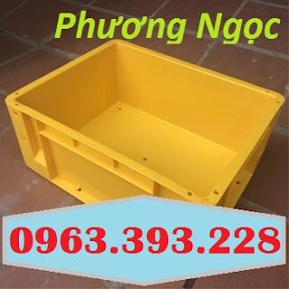 Thùng nhựa đặc có lỗ, thùng nhựa kích thước 480 x 380 x 200 mm, thùng nhựa Thung-nhua-dac-ha001-mau-vang_result