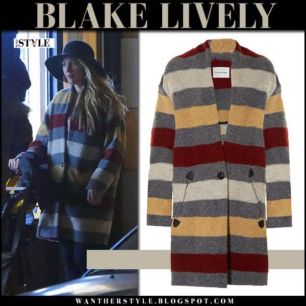 Blake Lively in striped wool coat isabel marant gabrie and black hat rag bone dunaway what she wore street style