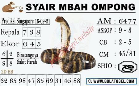 Syair Mbah Ompong SGP Kamis 16 September 2021