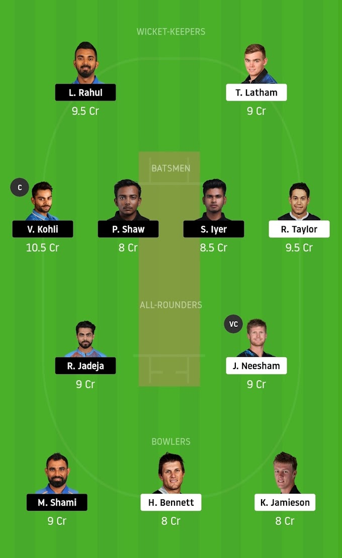 India vs New Zealand first ODI match   Dream 11 Prediction and best Team