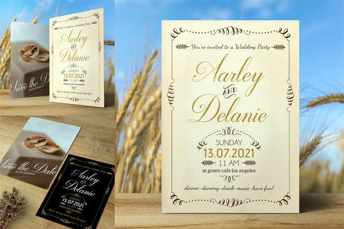 Black and Brown Vintage Wedding Invitation