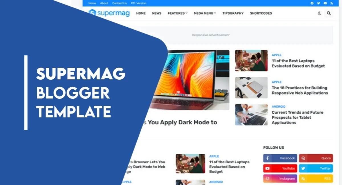 SuperMag Premium Blogger Template Free Download - SuperMag v1.4.0 Magazine Blogger Template
