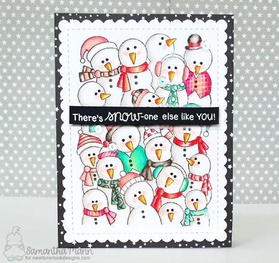 Snowman card by Samantha Mann | Frozen Fellowship Stamp Set and Frames & Flags Die Set by Newton's Nook Designs #newtonsnook #handmade