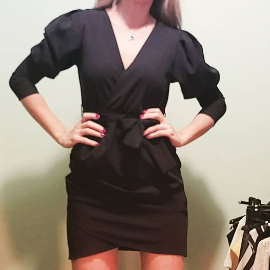 Black dress με μακρύ μανίκι & ζωνάκι