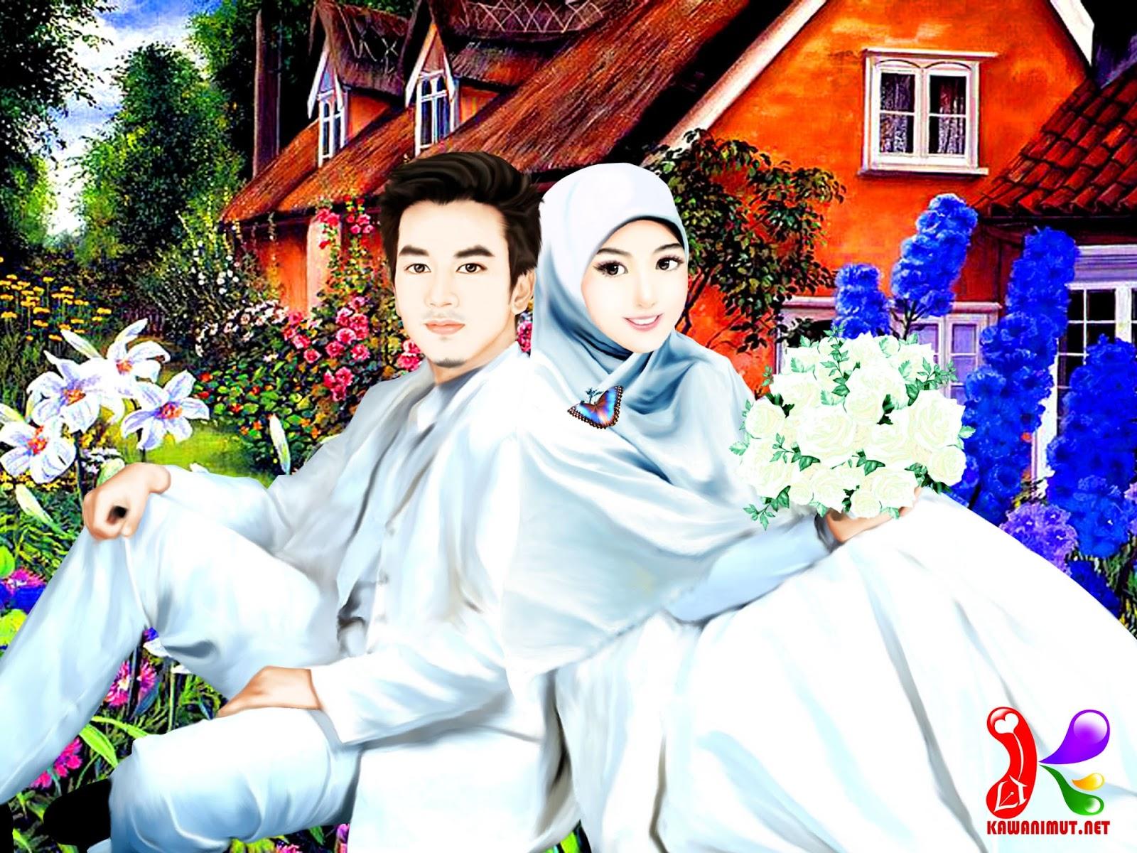 Koleksi Gambar Kartun Muslimah Kahwin