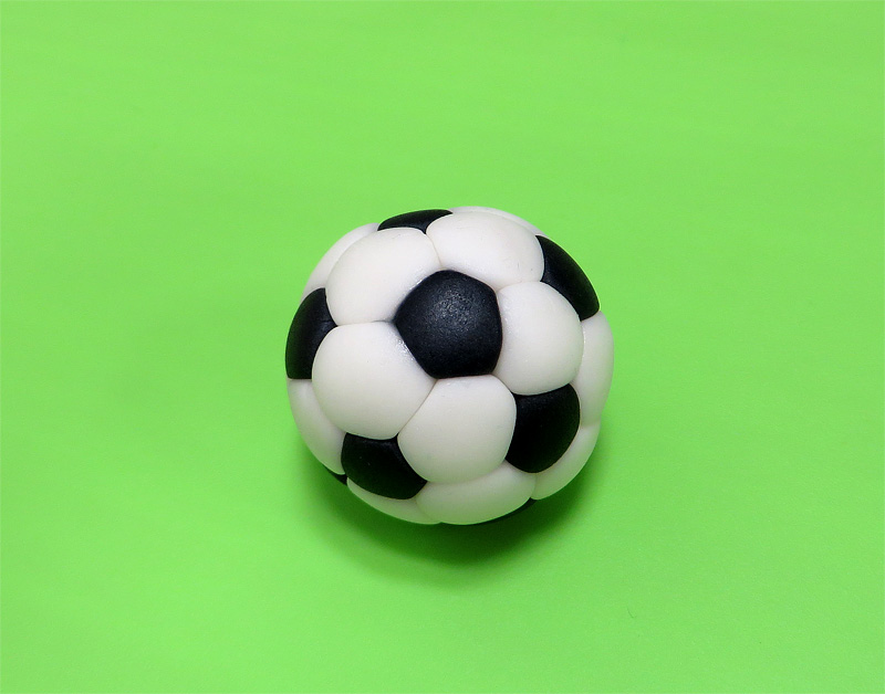 Fondant soccer ball close up