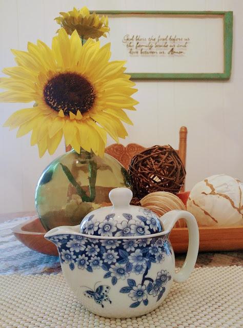 small blue teapot