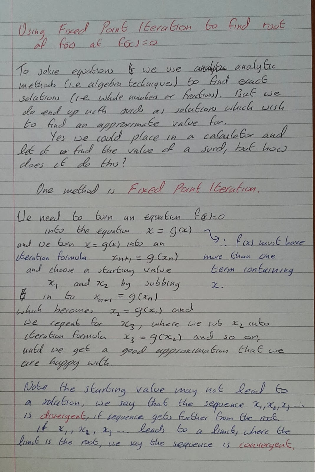 A Level Maths Notes: A2 Numerical Methods: fixed point iteration