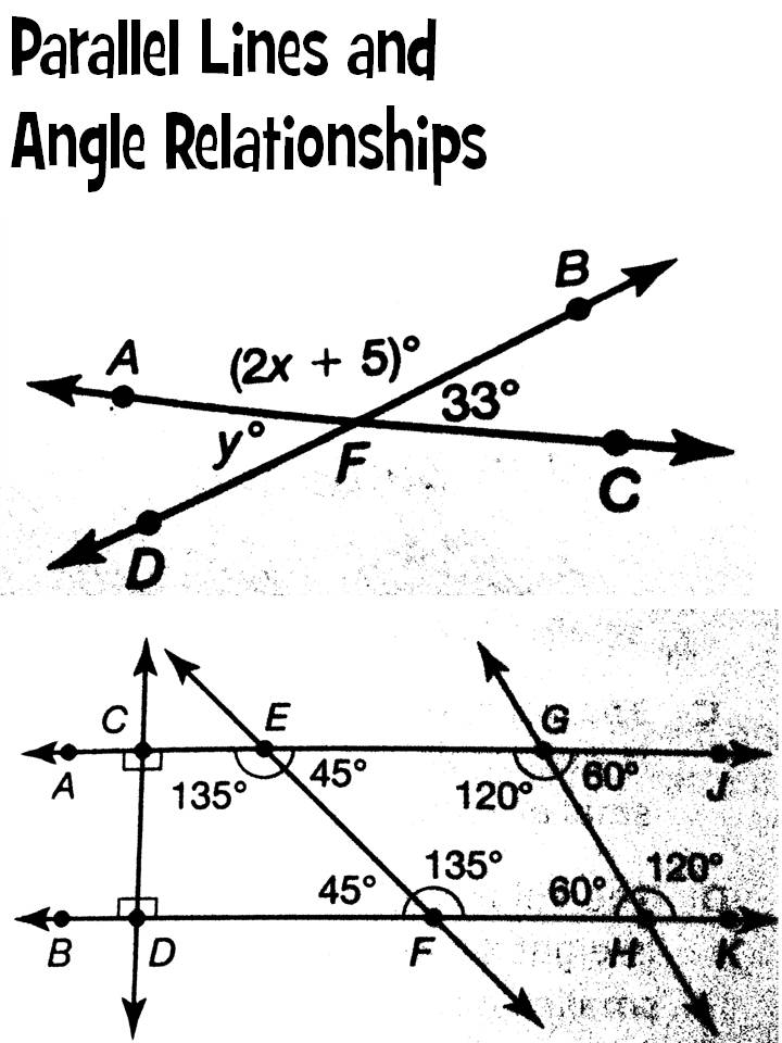 Morgan\u0027s Mathletes Parallel Lines and Angle Relationships