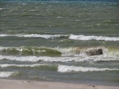 Lake Michigan with green waves