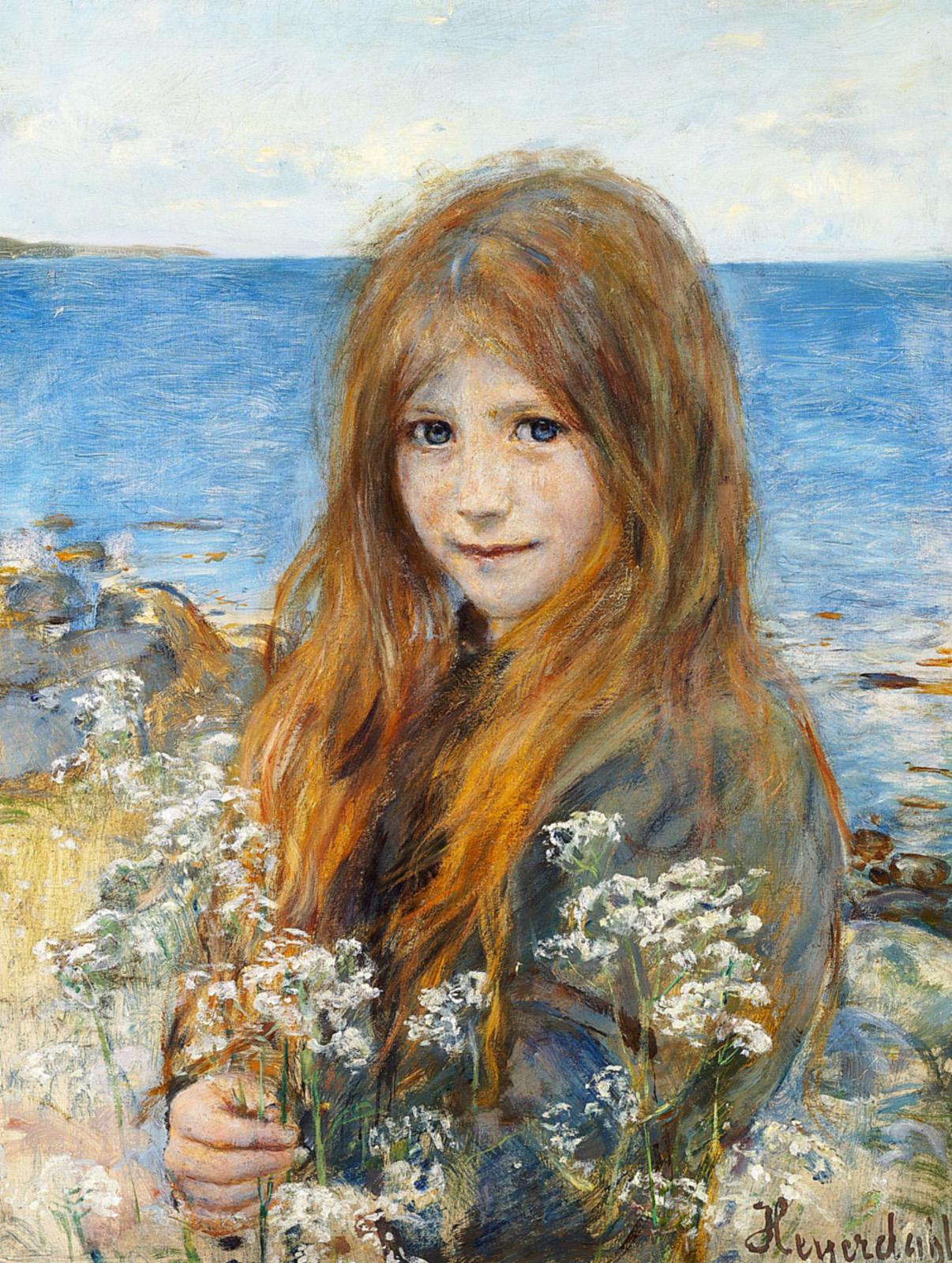 Hans Heyerdahl Little girl on the beach