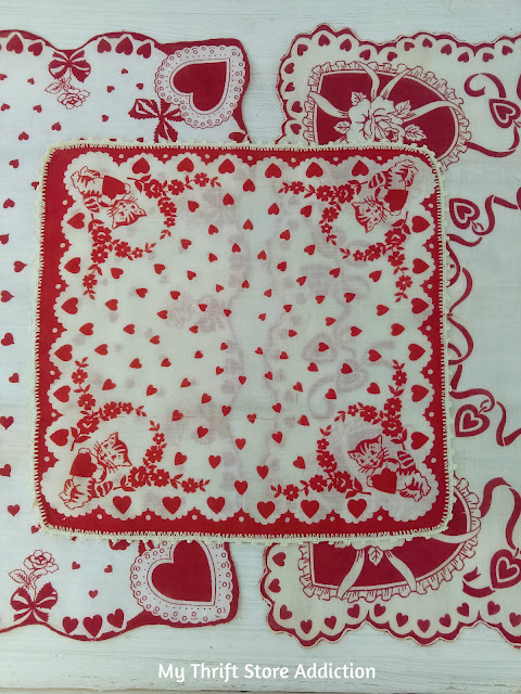 set of 3 red and white vintage hankies