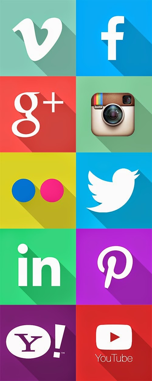 Social Flat icons with long shadows