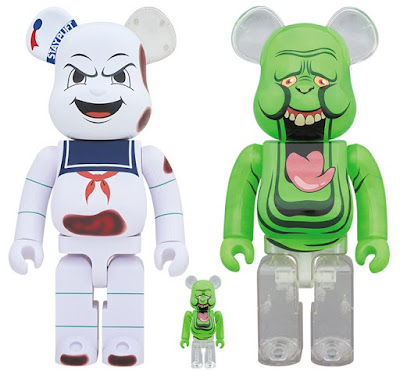 Ghostbusters Slimer & Burnt Stay Puft Marshmallow Man Be@rbrick Vinyl Figures by Medicom Toy