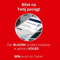 50 procent zwrotu za płatności BLIKiem za bilety w aplikacji KOLEO
