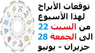 توقعات الأبراج لهذا الأسبوع من السبت 22 الى الجمعة 28 حزيران - يونيو 2019