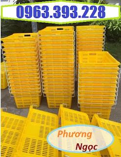 Sọt thanh long, sọt có quai HS011, sóng nhựa quai sắt, sọt nhựa đựng nông sản Snqs