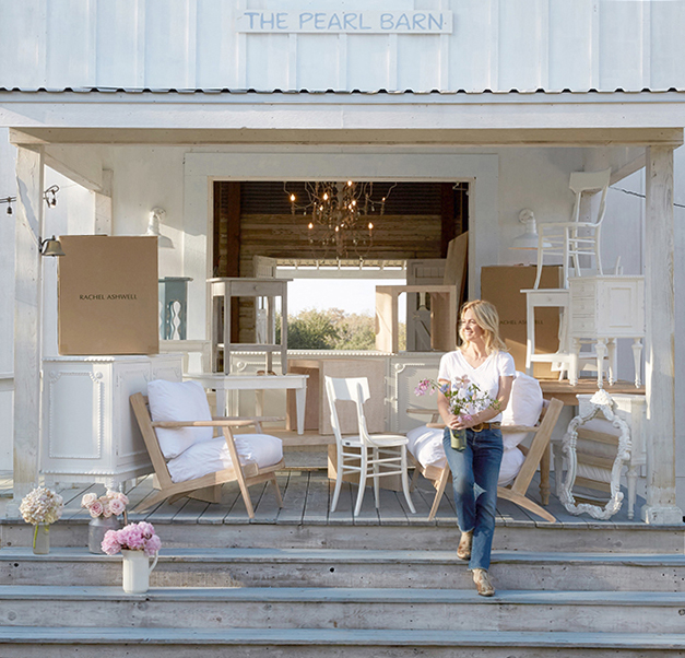 Rachel Ashwell of Shabby Chic on steps of Pearl Barn at The Prairie