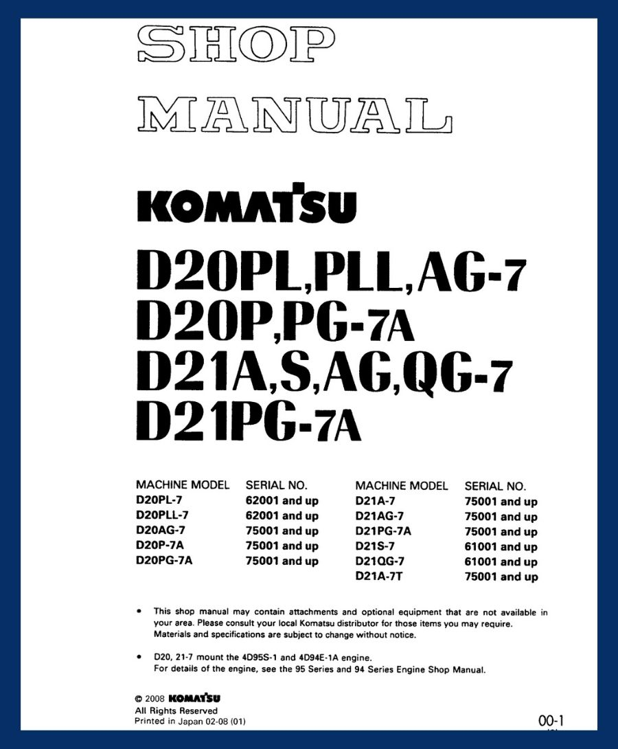 komatsu D20P-7A G 20PG-7A D21A-7 D20PL-7 G 20PLL-7 D20AG-7