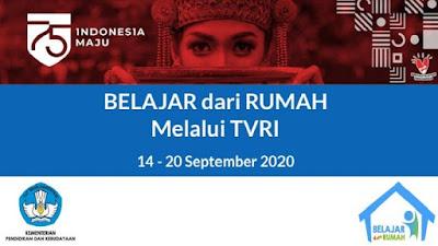 Jadwal Dan Panduan BDR Minggu Ke 23 Tanggal 14 - 20 September Tahun 2020