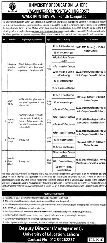 University of Education Lahore UOE Jobs