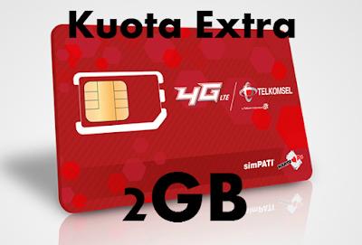 Cara Daftar Paket Kuota Extra Telkomsel 2GB Hanya 1000 Rupiah