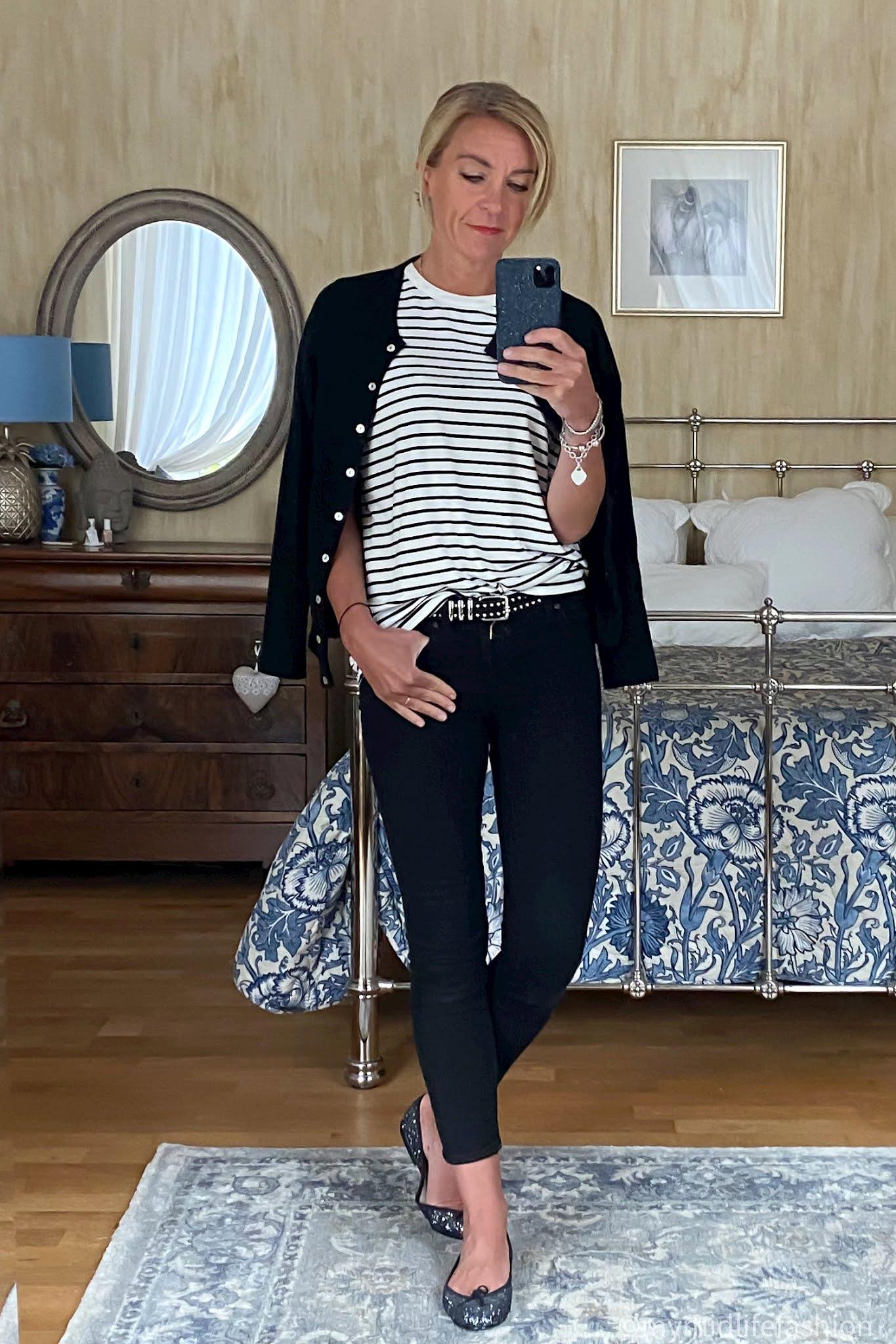 my midlife fashion, Baukjen Emmanuelle top, pink avocet crew neck cardigan, j crew 8 inch toothpick skinny jeans, the couples studded leather belt, French sole Henrietta glitter ballet pumps