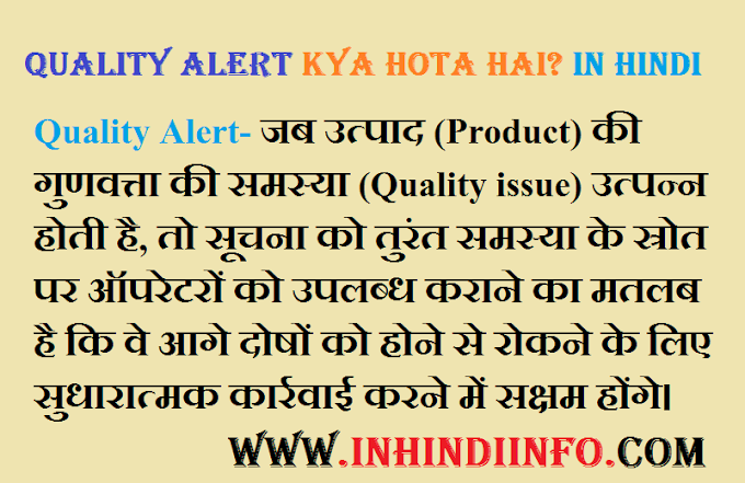 What is Quality Alert in Hindi?