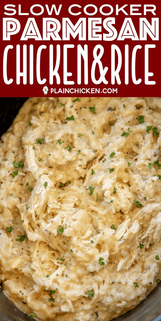 SLOW COOKER PARMESAN CHICKEN & RICE #recipes #dinnerrecipes #dinnermeals #dinnermealstocook #food #foodporn #healthy #yummy #instafood #foodie #delicious #dinner #breakfast #dessert #lunch #vegan #cake #eatclean #homemade #diet #healthyfood #cleaneating #foodstagram