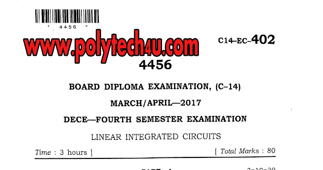C-14 LINEAR INTEGRATED CIRCUITS OLD QUESTION PAPER 2017 SBTETAP
