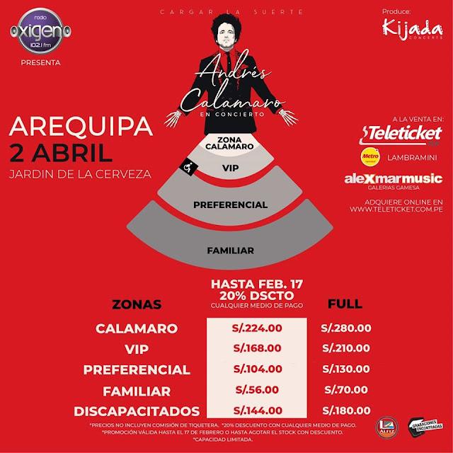 Precio de entradas Andres Calamaro 2020
