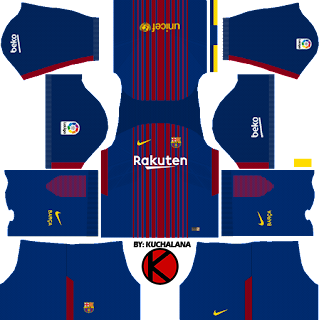 Barcelona Nike home Kits 2017/2018 - Dream League Soccer