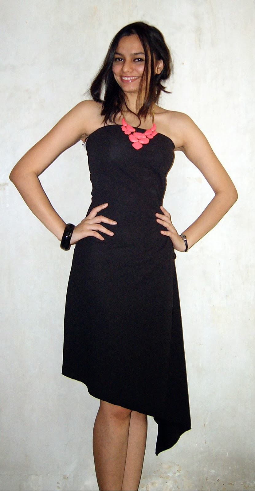 LBD, cutout dress, neon necklace, pink, shocking pink accessories, mumbai streetstyle, club look, asymmetric dress