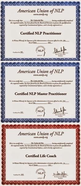 Diplomas de PNL y Life Coach de Carlos del Río