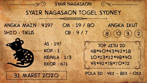 Prediksi Togel Sidney Selasa 31 Maret 2020 - Nagasaon Sidney