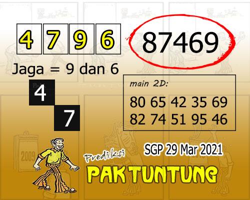 Syair SGP Senin 29 Maret 2021 -