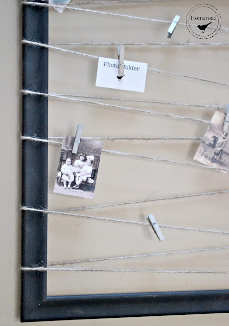 frame with jute and photos